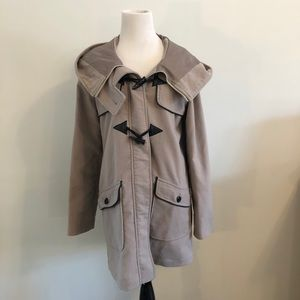 Taupe Coat with Black Piping & Toggle Buttons